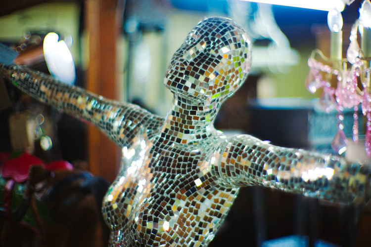 Antique Dancing Figure Mannequin Mirror Philosophy Sparkle Creepy Curiosity Disco Disco Ball Human Body Part Mirrors Sculpture Selfie Sparkly Strange