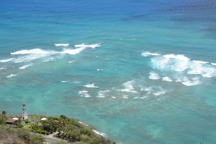 Beauty In Nature Blue Coastline Day Green Hawaii High Angle View Miles Away Landscape Landscape_Collection Landscapes With WhiteWall Lighthouse Mountain Nature No People Ocean Outdoors Rock - Object Sea Sun The Essence Of Summer Turquoise Water Water Wave Waves Been There. Lost In The Landscape