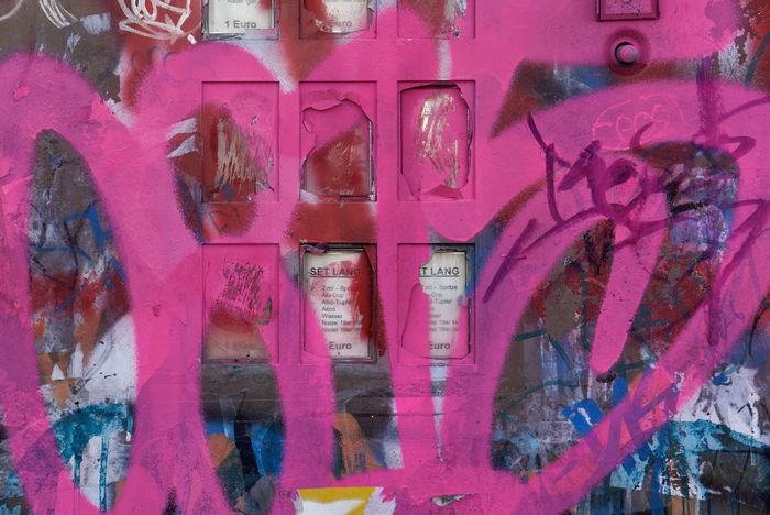 Hurt Pink Addiction Architecture Art Backgrounds Close-up Commerce Communication Day Full Frame Graffiti No People Outdoors Syringes Text Vandalism Vending Machine