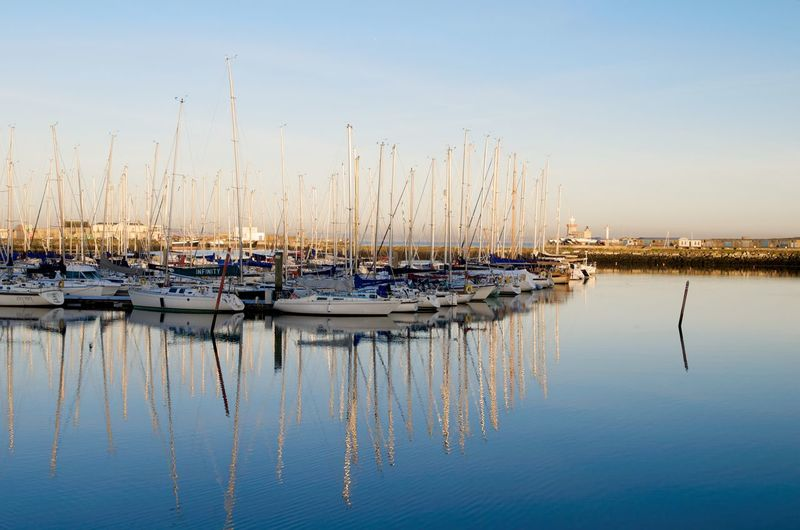 Howth Harbour Blue Boat Calm Clear Sky Mast Mode Of Transport Moored Nature Nautical Vessel Reflection Scenics Sky Tranquil Scene Tranquility Transportation Water Waterfront