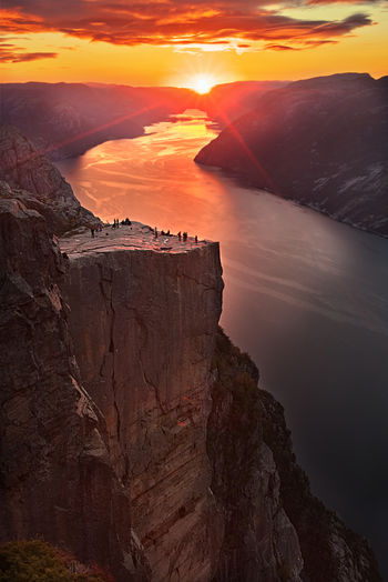 Fjord Beauty In Nature Scenics - Nature Tranquil Scene Rock Tranquility Sky Rock Formation Solid Idyllic Nature Physical Geography Formation Outdoors Landscape Sunrise Cliff Norway Pulpit Rock Preikestolen Geology
