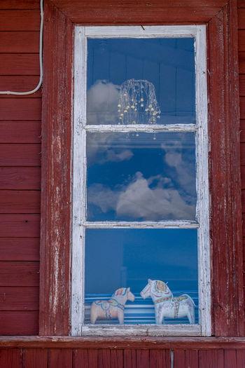 Reflection of sky on window