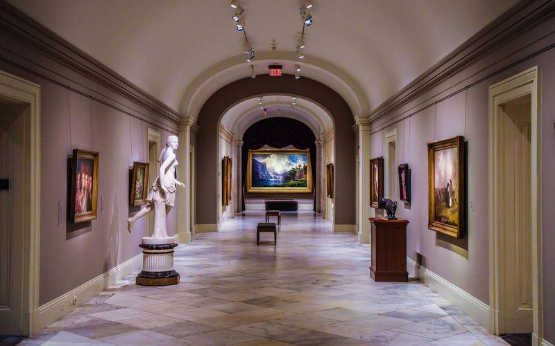 Empty corridor in museum