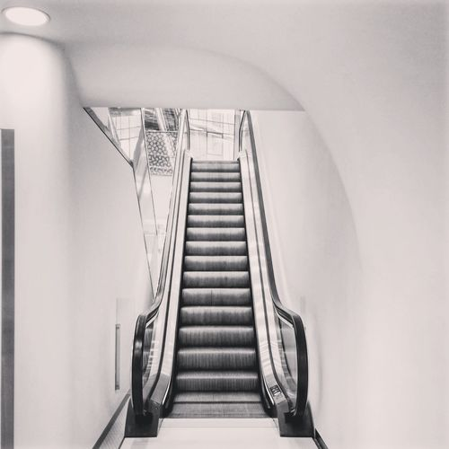 Stairs Movingstairs Escalator Hightech Tech Technology Future Futurism Futurist Futuristic Light Shadow Black White Grey Blackandwhite Black&white Warsawspire Warsaw Spiral Staircase Steps And Staircases Steps Staircase Railing Architecture Built Structure Office Building Arch Bridge Building Archway