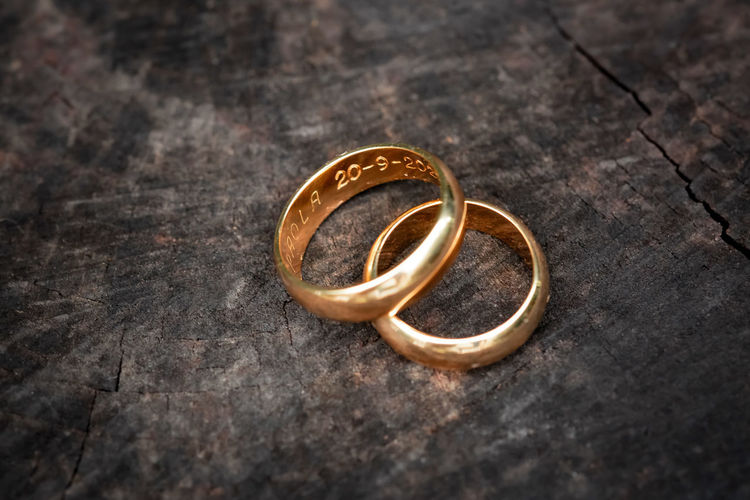 Wedding rings on metal container