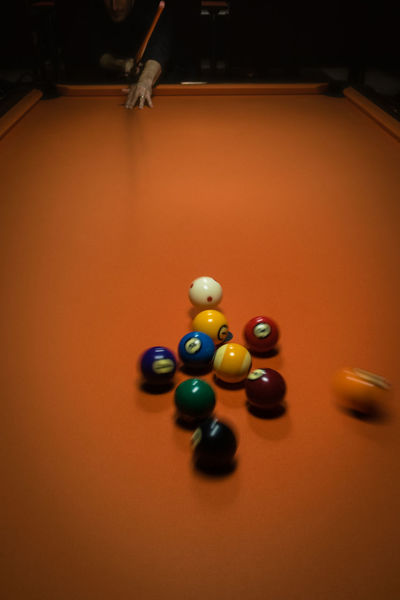 Billiards Close-up Competition Cue Ball Indoors  Leisure Activity Leisure Games Nineball No People Orange Color Pool - Cue Sport Pool Ball Pool Cue Pool Table Snooker Snooker And Pool Snooker Ball Sport Table