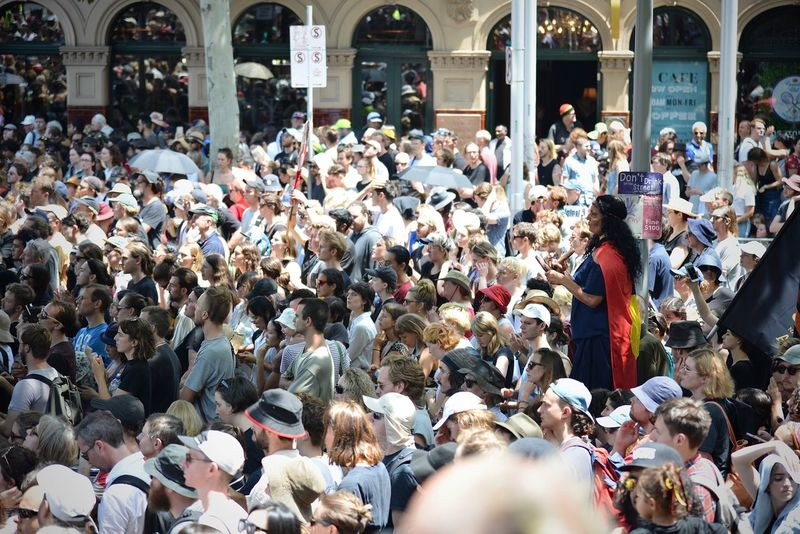 Australia Australia Day Melbourne City Protest Change The Date Crowd Group Of People Large Group Of People Protestors