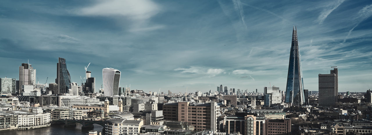 Panoramic View Of London Against Cloudy Sky