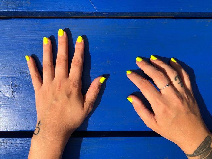 Hands! Tatoo Human Hand Human Body Part Hand Body Part Blue Human Finger Finger Nail Polish Fingernail Personal Perspective Blue Background