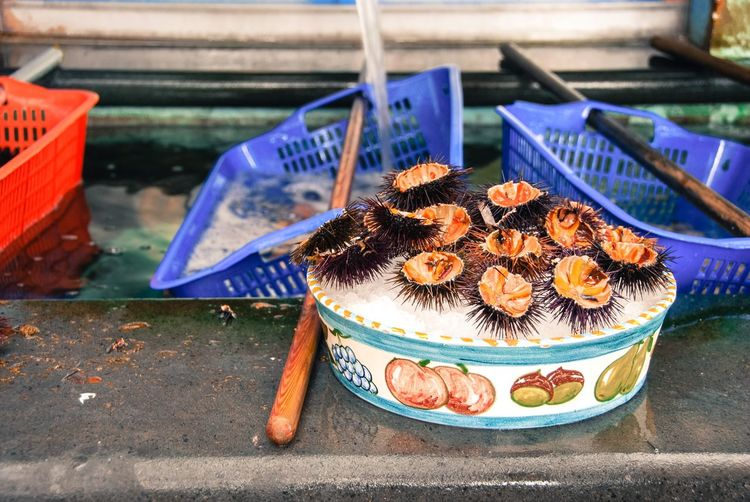 Plate with Sea urchins Sea Urchin Urchin Sea Food Photography Sea Food Seafood No People Close-up Still Life Day Table Food And Drink Food Design Market