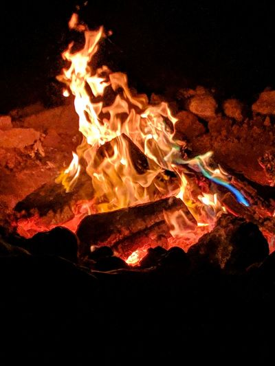 Flame Heat - Temperature Burning Orange Color Close-up Firewood Bonfire Fire Heat