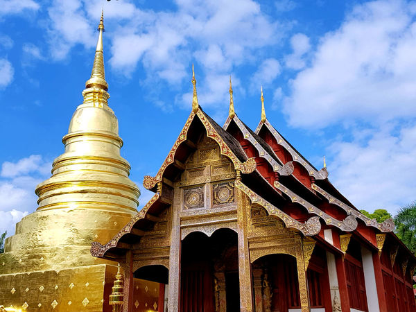 Buddhist temple and golden pagoda Tourist Attraction  Architecture Buddhism Buddhist Temple Built Structure Day Golden Pagoda Place Of Worship Religion Temple Travel Destinations