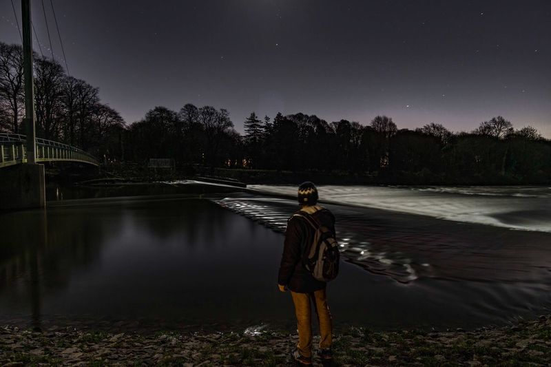 Moon over the river taff New Perspectives Discover  Explore Moon Light Moonlight Night Nightphotography Water Reflections Moonlight Real People Rear View Full Length One Person Nature Astronomy People Standing Sky Clear Sky Outdoors Beauty In Nature Star - Space First Eyeem Photo EyeEmNewHere EyeEmNewHere