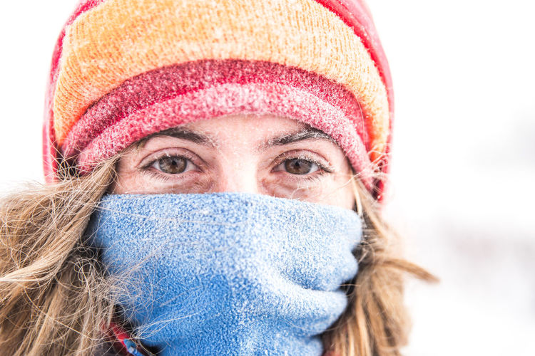 Portrait of a woman in winter