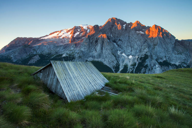 Landscapes from Dolomite Mountains, Italian Alps. Alpine Alps Blue Sky Clear Sky Dolomites Europe Grass Italy Landscape Light Marmolada Morning Mountain Nature Photography Red Rocky Sunrise View
