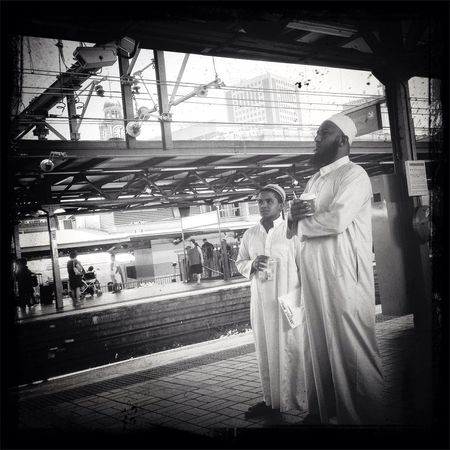 Waiting for the Public Transportation train. Sydney Central Station. Commuting Peoplephotography