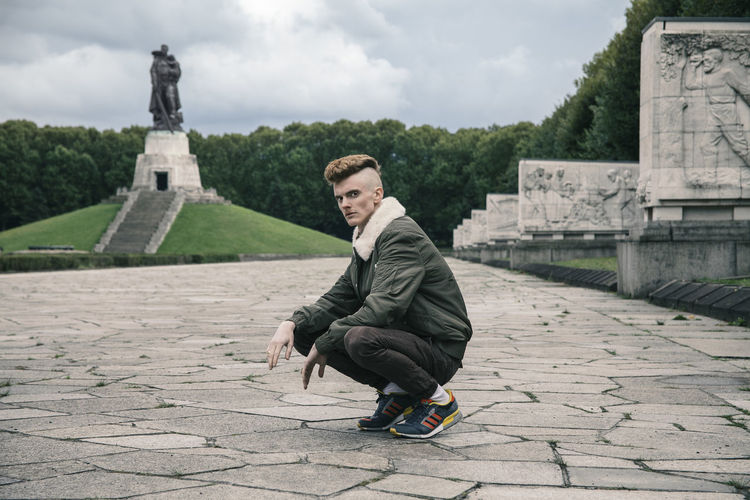 Andy in Berlin (Soviet War Memorial), September 2017 Berlin Fashion Treptower Park Boy Casual Clothing Cloud - Sky Fashion Photography History Leisure Activity Lifestyles Menstyle Menswear Nature One Person Outdoors People Real People Sculpture Sitting Statue Streetstyle Treptower Park War Memorial Urban Young Adult Young Men