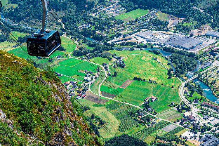 Loen Skylift Landscape Scenics - Nature Land Transportation Tree Nature High Angle View Built Structure Green Color Beauty In Nature Road Mode Of Transportation Day Outdoors No People Loen Skylift