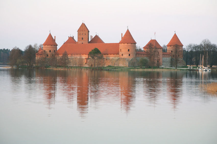 Architecture Building Exterior Built Structure Clear Sky Day Lake Lithuania Nature No People Outdoors Reflection Sky Trakai Trakai Castle Water
