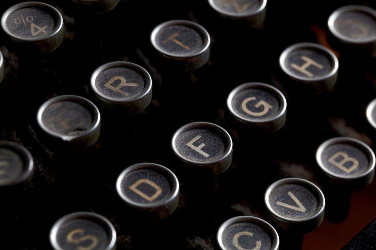 Full frame shot of old-fashioned typewriter