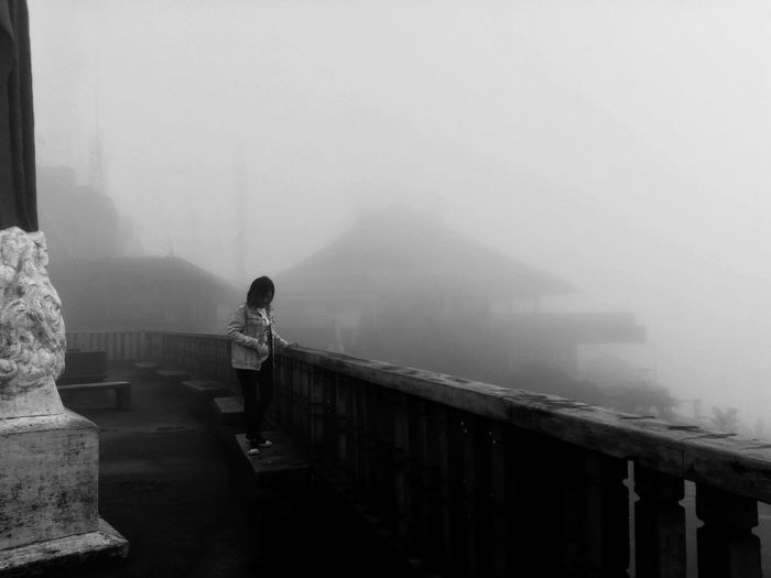 Be Brave Fog One Person Adult Women Full Length Railing Built Structure Nature Standing Mobilephotography Eyeem Philippines Winter