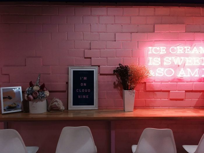 Pink cafe White Chair Neon Lamp Neon Pink Neon Pink Cafe Pink Wall Photos By Lamut Text Western Script Communication Wall - Building Feature No People Wall Sign Indoors  Home Interior Brick Wall