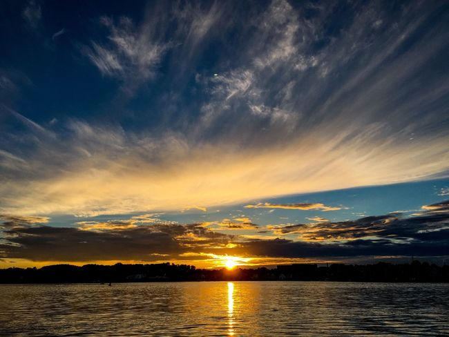 Sunset Scenics Beauty In Nature Sky Tranquil Scene Tranquility Nature Cloud - Sky Water Idyllic Reflection No People Silhouette Sun Outdoors Lake Day