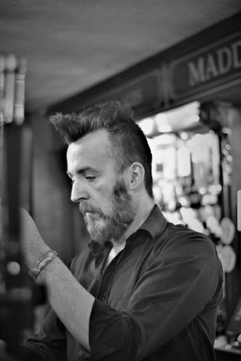 Quiff St Patrick's Day Adult Beard Beard Quiff Black And White Concentration Irish Barman Maddens Bar Monochrome One Person People Quiff Barman Real People Seriousface