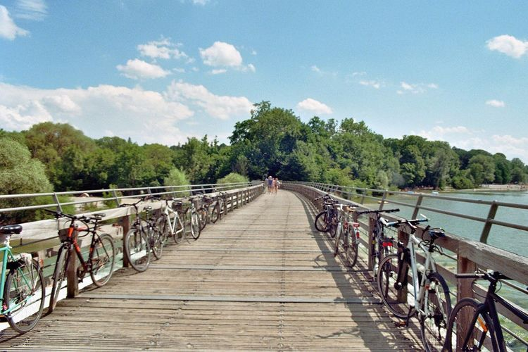 Bicycle Railing Tree Sky Cycling Cloud - Sky Nature Outdoors Mode Of Transport Day Transportation Analogue Photography Tranquil Scene Analog Camera Tranquility Water Bridge - Man Made Structure Beauty In Nature Footbridge One Person People