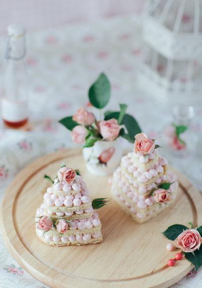 Cake Mini Cake 14th February Valentine's Day  Wedding Wedding Cake Homemade Cake Pink Color Flower Decoration Cake Flowers Roses Pink Roses Dessert Sweet No People Close-up Still Life Sweet Pastry Cream Cake