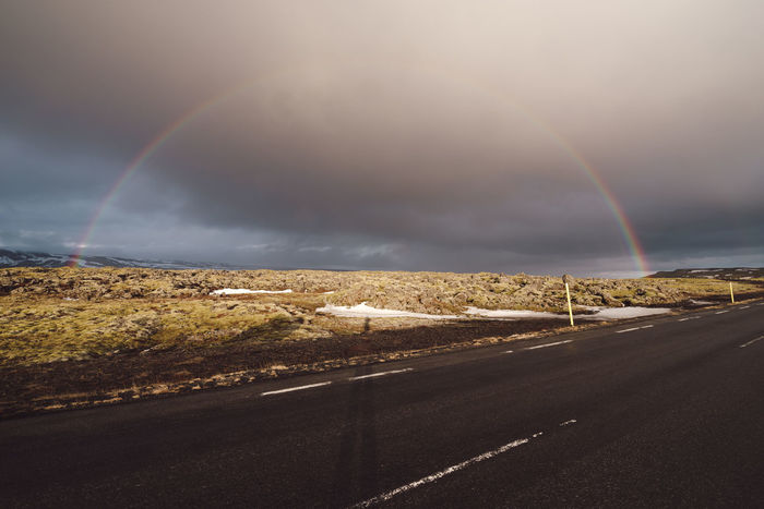 rainbow over road against sky Copy Space Iceland Iceland Memories Mountain View Nature Photography Nordic Light Stormy Weather Travel Photography Beauty In Nature Cloud - Sky Direction Double Rainbow Environment Iceland Trip Idyllic Landscape Mountain Mountain Range Nature No People Non-urban Scene Nordic Nordic Winter Outdoor Photography Outdoors Philipp Dase Rain Rainbow Road Scenics - Nature Sky Stormy Sky Street The Way Forward Tranquil Scene Tranquility Transportation The Great Outdoors - 2018 EyeEm Awards The Traveler - 2018 EyeEm Awards My Best Travel Photo