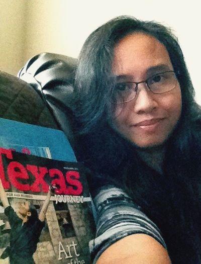 Glassesgirl San Antonio Texas Reading A Magazine
