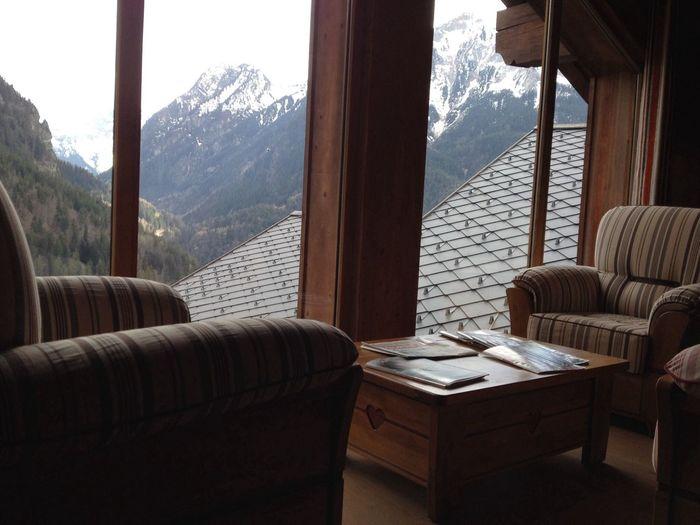 Mountain seen through windows of living room