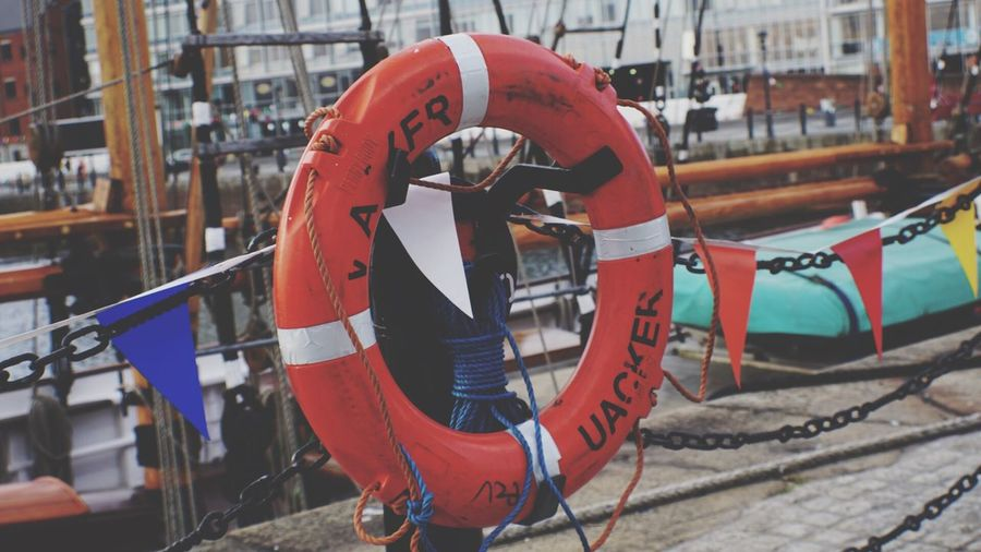Close-up of lifebelt against boat