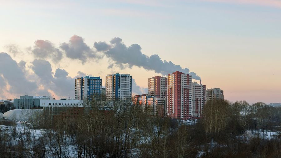 Evening Siberia Kemerovo Winter Smoke Condos New Houses Skyscraper Cityscape Downtown District Urban Skyline City Architecture No People Sunset Building Exterior Outdoors