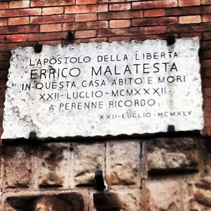 Architecture Brick Wall Building Exterior Built Structure Close-up Communication Day Errico Malatesta Malatesta No People Outdoors Sign Text