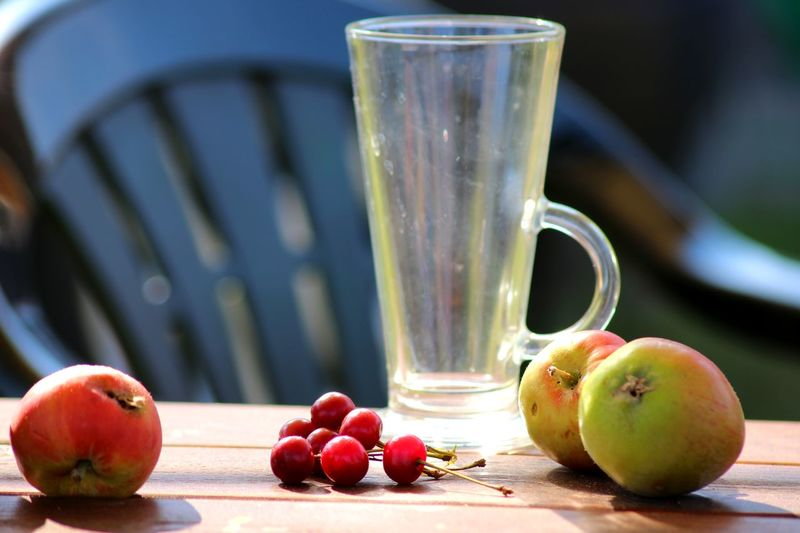 Aples Close-up Cup Empty Food And Drink Garden Glass Grapes Table