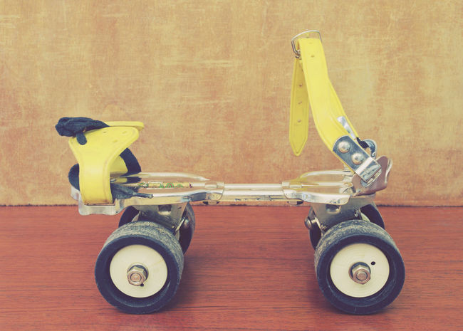 one roller skate Childhood Close-up Indoors  Laces Leisure No People Nostalgia Object Old Old Fashioned Retro Roller Skate Rollerskate Rollerskates Rollerskating Seventies Single Object Used Wheel Yellow