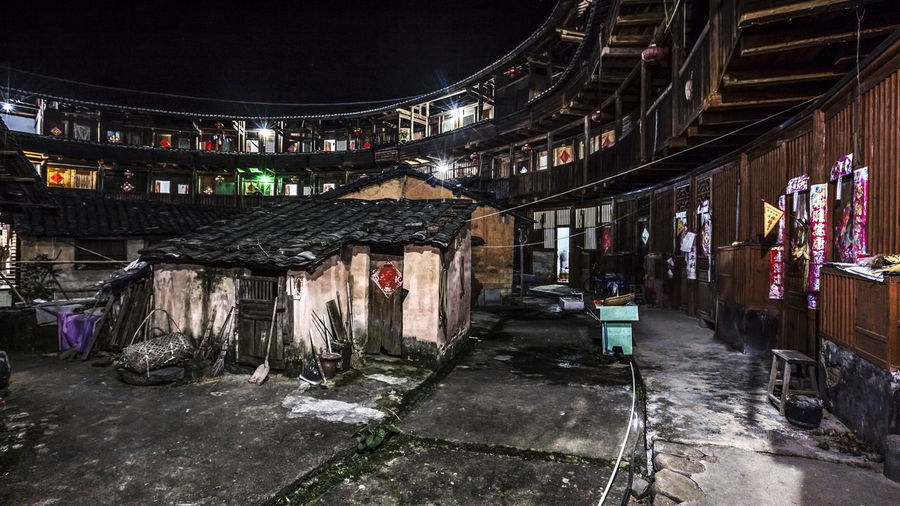 Tulou Tulou is the most extraordinary type of Chinese rural dwellings of the Hakka and others in the mountainous areas in southeastern Fujian, China. HUAWEI Photo Award: After Dark Architecture Building Building Exterior Built Structure Hakka House Illuminated Nature Night Night View No People Old Rural Dwellings