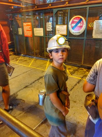 young miner Big Pit Museum Coal Mine Occupational Safety And Health Hardhat  Headwear Reflective Clothing Working Manufacturing Equipment Protective Workwear Occupation Industry Responsibility