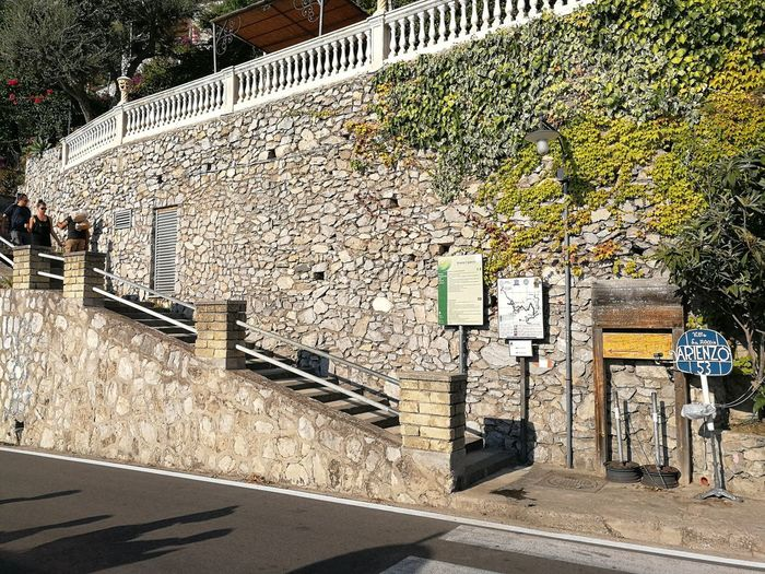 Architecture Built Structure Building Exterior Day No People Plant Nature Outdoors Wall - Building Feature Wall City Tree Sunlight Stone Wall Sign Railing Communication Transportation Street Building Arienzo Sentiero Degli Dei Costiera Amalfitana Scalinata Nocelle