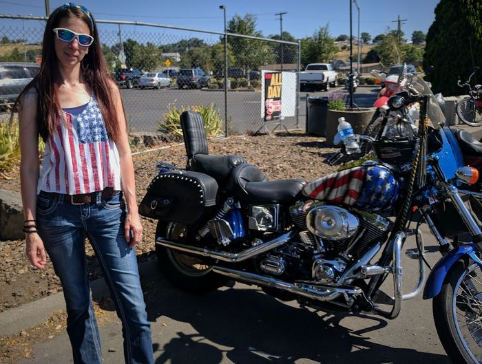 Like it was meant to be! I saw this beauty from accross the parking lot, i had to get a pic with it!🇺🇸🏍️😎😁🌞 Motorcycle American Flag Special Paint Job Sunglasses Standing Casual Clothing One Person Biker Outdoors One Woman Only Young Adult Travel Destinations Pendleton Bike Week Pendleton, OR Mean Machine Way Of Life Dreaming EyeEm Motorcycles Sunshine And Summer Time Chrome Sweet Chrome All Smiles On My End Unique Paint Job I'll Get My Own One Day Goals EyeEm Dreaming