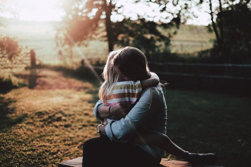 One Person Sitting Real People Childhood Day Tensed Outdoors Nature People Adult Hug Childhood Memories Children Photography Mummy Love  Mummy Mummy'sGirl Live For The Story