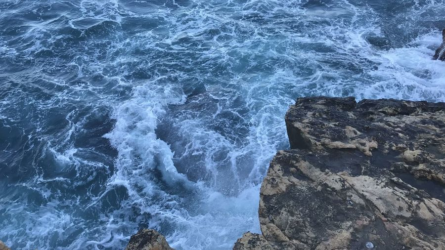 Sea Water Motion Sea Sport Aquatic Sport Surfing Splashing Wave Nature High Angle View Rock - Object Outdoors Rock Formation Beauty In Nature