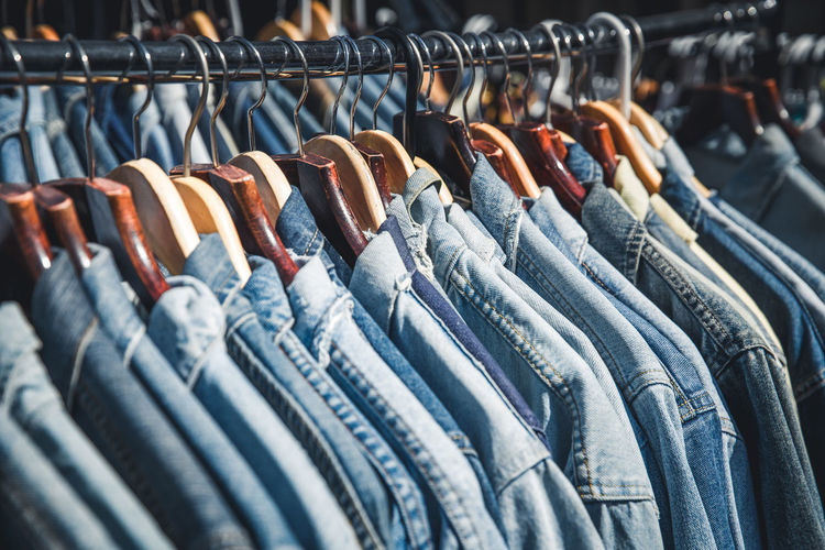 Row Of Denim Shirts On Rack At Store