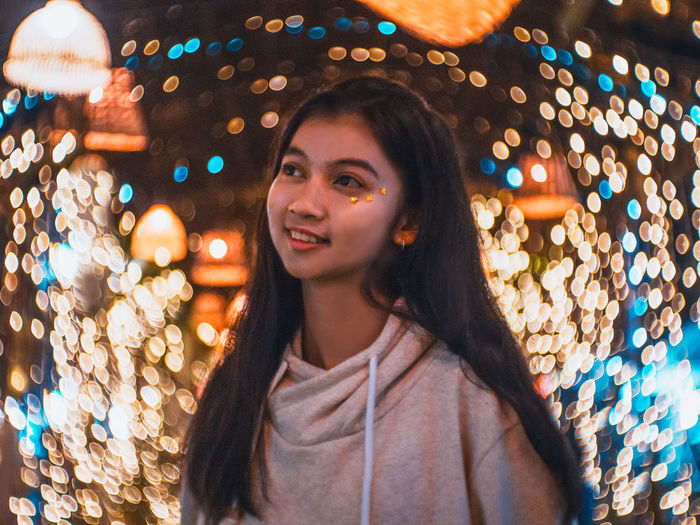 feel cold maybe in summer One Person Illuminated Young Adult Portrait Hair Headshot Smiling Young Women Long Hair Front View Lifestyles Leisure Activity Happiness Focus On Foreground Hairstyle Casual Clothing Looking Night Women Outdoors Beautiful Woman Warm Clothing