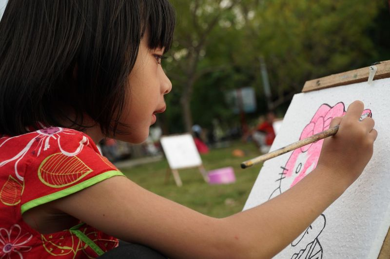 Close-up of girl drawing on paper