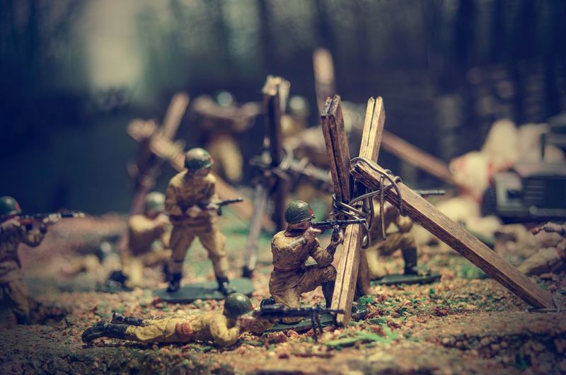 Toy soldiers on field