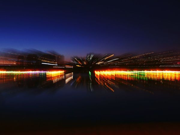 Reflection Night Illuminated Water Long Exposure Outdoors Sky No People Scenics Defocused Beauty In Nature Nature