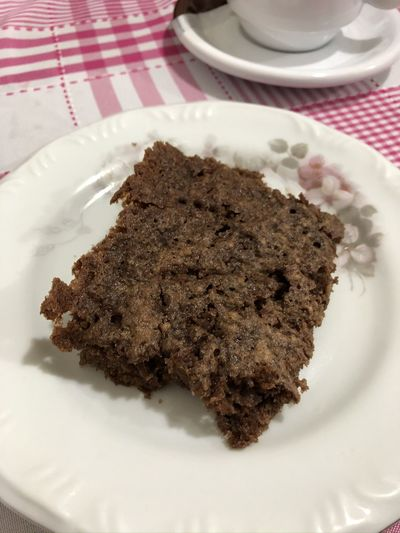 High angle view of chocolate cake in plate